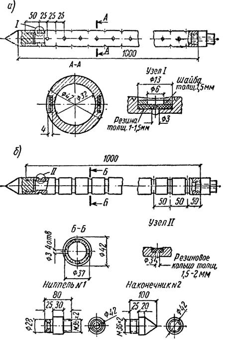Схемы инъекторов конструкции Гидроспецстроя