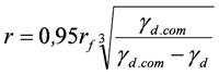 Формула определения радиуса уплотненной зоны вокруг уширения