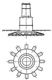Противокарстовый фундамент дымовой трубы с консольными выпусками