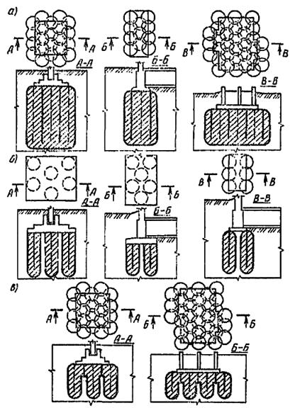 Конструктивные схемы инъекционного закрепления грунтов основания