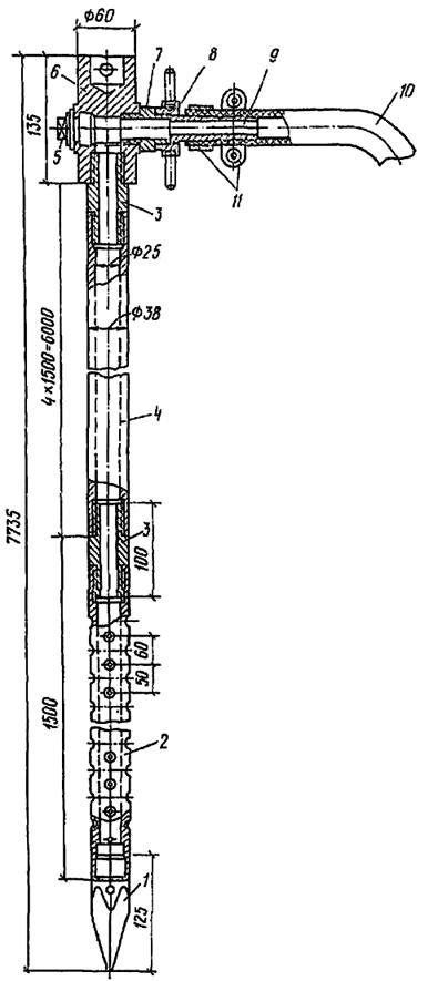 Забивной инъектор для силикатизации и смолизации песчаных грунтов