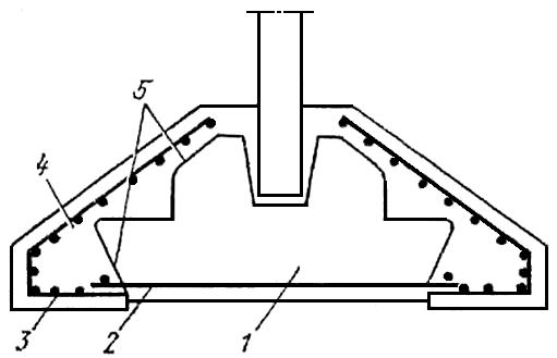 Расширение опорное площади и усиление отдельно стоящего фундамента