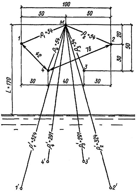 Схема водопонизительной системы из четырех скважин