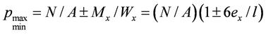 Максимальное иминимальное давления под краем фундамента мелкого заложения при действии момента сил
