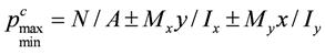 При действии моментов сил относительно обеих главных осей инерции давления в угловых точках подошвы фундамента