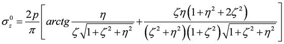 Вертикальные нормальные напряжения по вертикали, проходящей через центр площадки