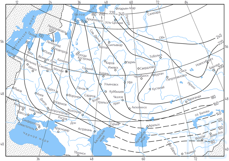 Схематическая карта нормативных глубин промерзания суглинков иглин<пусто>
