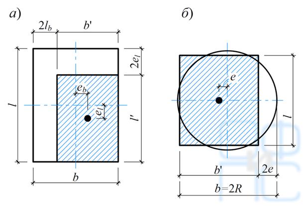 Определение приведенных размеров фундамента