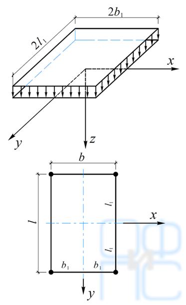 Определение напряжений в основании при действии наего поверхности нагрузки, равномерно распределенной попрямоугольной площадке