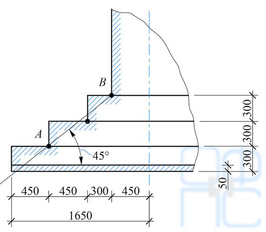 Определение размеров ступеней фундамента