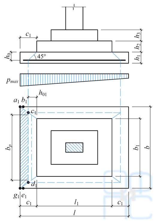 Схема пирамиды продавливания для фундамента с многоступенчатой плитной частью