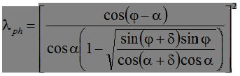 Коэффициент горизонтальной составляющей пассивного давления при горизонтальной поверхности грунта