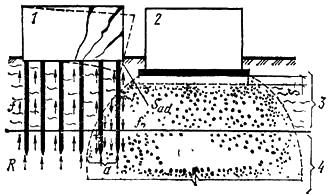 Деформация здания на висячих сваях при возведении вблизи него здания на фундаментной плите