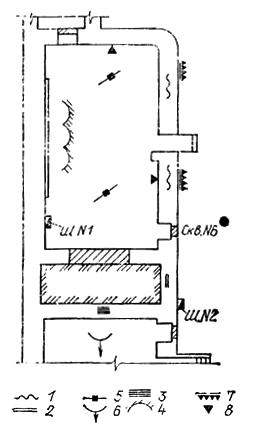 План подвала секции дома старой постройки