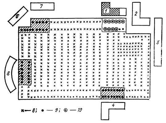 План свайного поля массивного здания концертного зала в Ленинграде