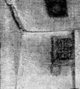 Плита перекрытия 9-го этажа крупнопанельного дома, получившая сдвиг в результате развития неравномерной дополнительной осадки основания